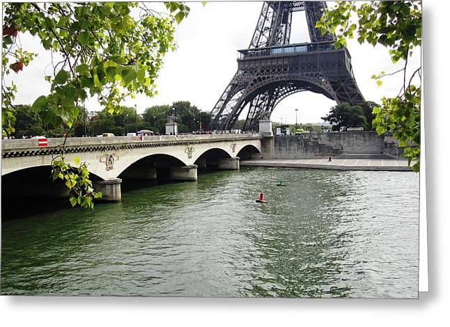 Eiffel Tower Seine River Paris France Greeting Card