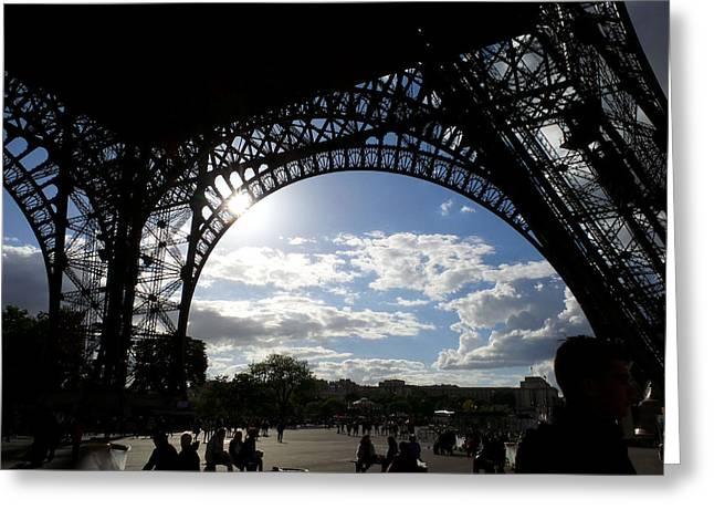 Eiffel Tower Sky Greeting Card by Rosie Brown