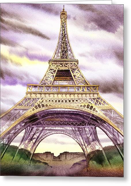 Eiffel Tower Summer In Paris Greeting Card by Irina Sztukowski