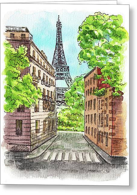 Eiffel Tower Summer Paris Day Greeting Card by Irina Sztukowski