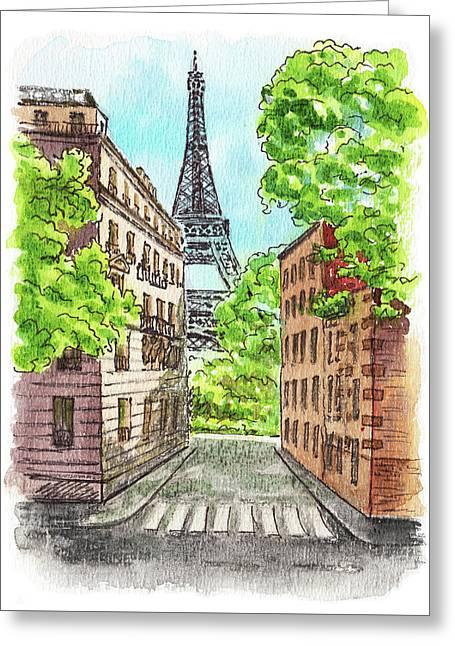 Greeting Card featuring the painting Eiffel Tower Summer Paris Day by Irina Sztukowski