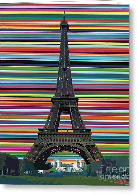 Greeting Card featuring the painting Eiffel Tower With Lines by Carla Bank