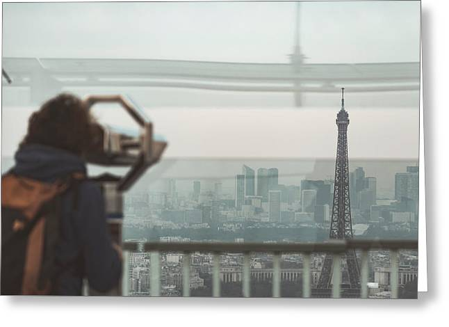 Greeting Card featuring the photograph Eiffel View by Nikos Stavrakas