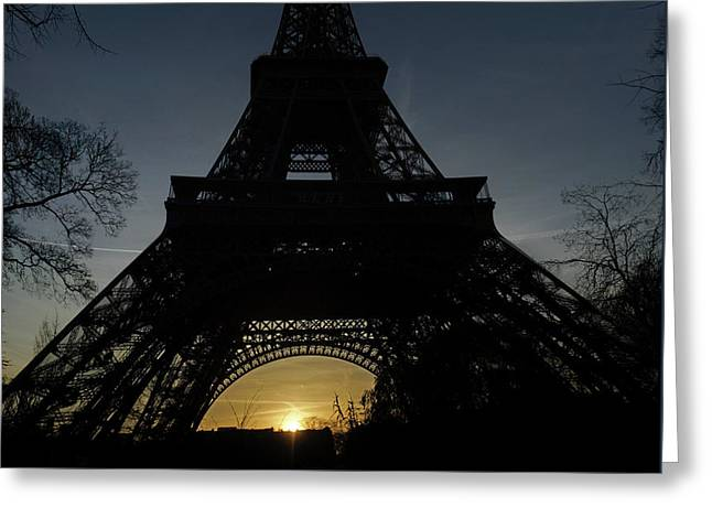Eiffeltower At Sundown Greeting Card by Erik Tanghe