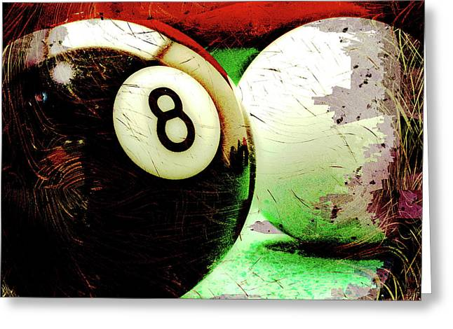 Eight And Cue Ball Greeting Card