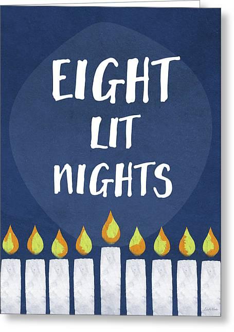 Eight Lit Nights- Hanukkah Art By Linda Woods Greeting Card