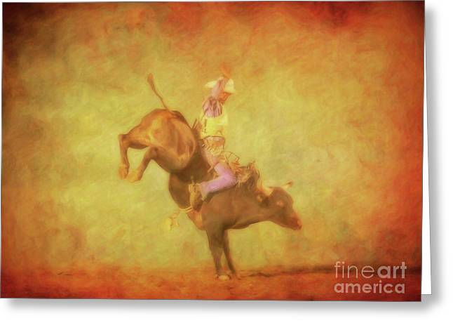 Eight Seconds Rodeo Bull Riding Greeting Card