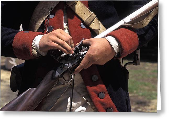Eighteenth Century Soldier Loading Greeting Card by Richard Nowitz