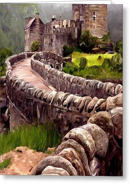 Greeting Card featuring the painting Eilean Donan Castle by James Shepherd