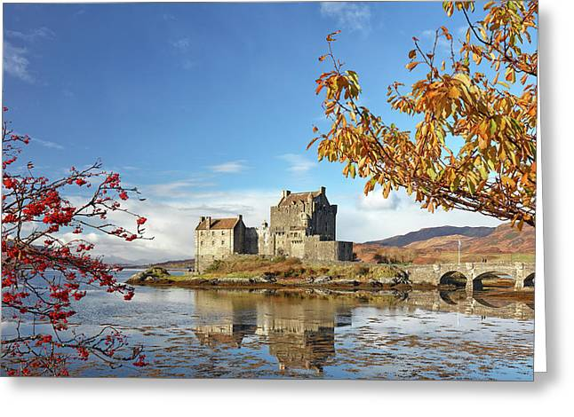 Greeting Card featuring the photograph Eilean Donan In Autumn by Grant Glendinning