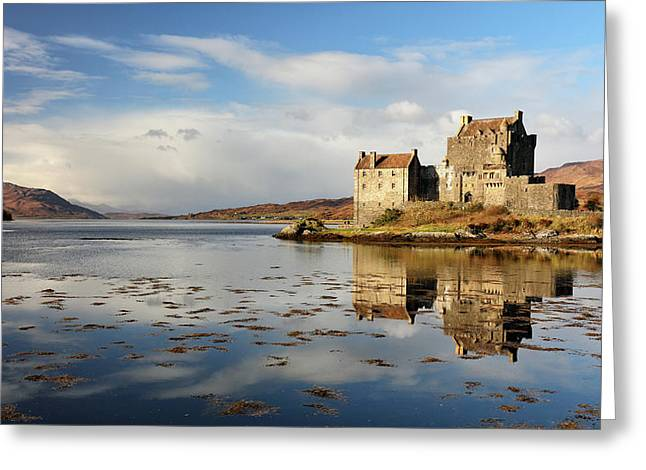 Greeting Card featuring the photograph Eilean Donan - Loch Duich Reflection - Dornie by Grant Glendinning