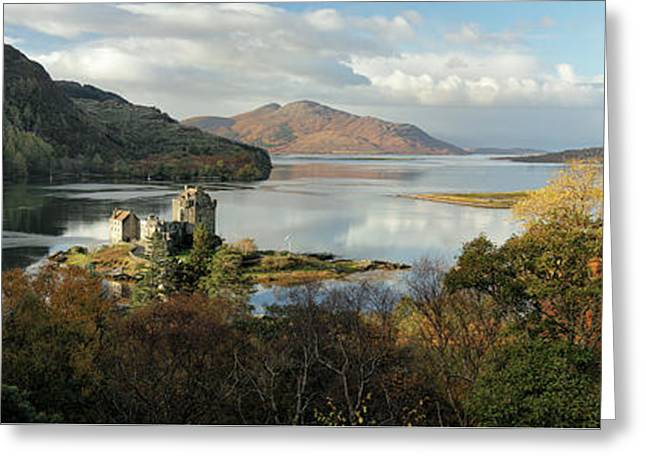 Greeting Card featuring the photograph Eilean Donan Panorama - Autumn by Grant Glendinning