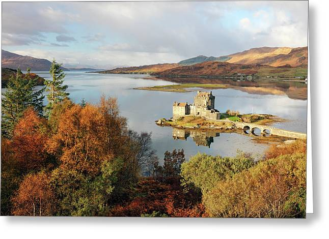Greeting Card featuring the photograph Eilean Donan Reflection In Autumn by Grant Glendinning