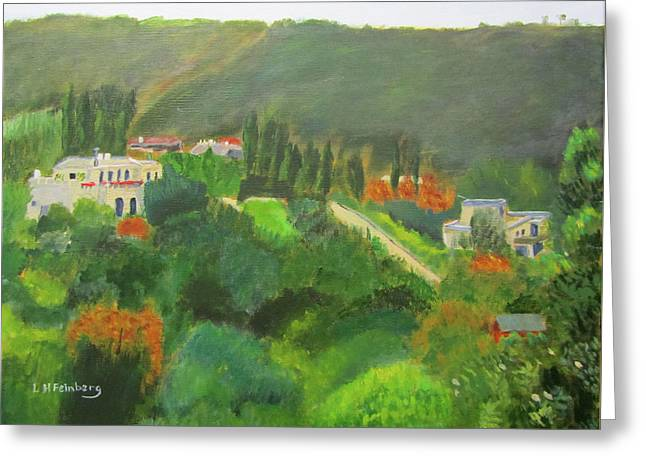 Greeting Card featuring the painting Ein Hod View by Linda Feinberg