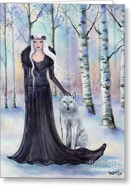 Eindride Nordi Goddess With Wolf Greeting Card