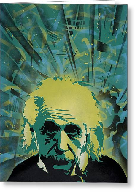 Stencil Spray Greeting Cards - Einstein Greeting Card by Iosua Tai Taeoalii