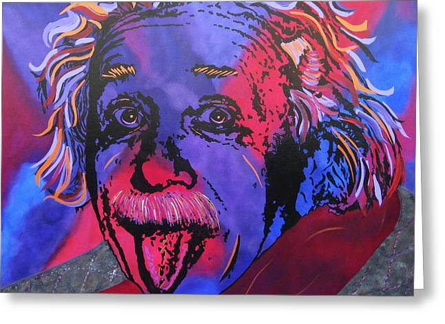 Etc. Paintings Greeting Cards - Einstein-Professor Greeting Card by Bill Manson
