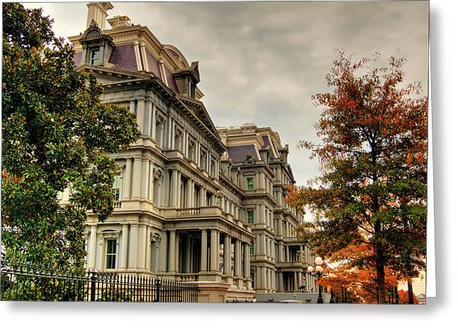 Eisenhower Building Greeting Card by Kevin Hill