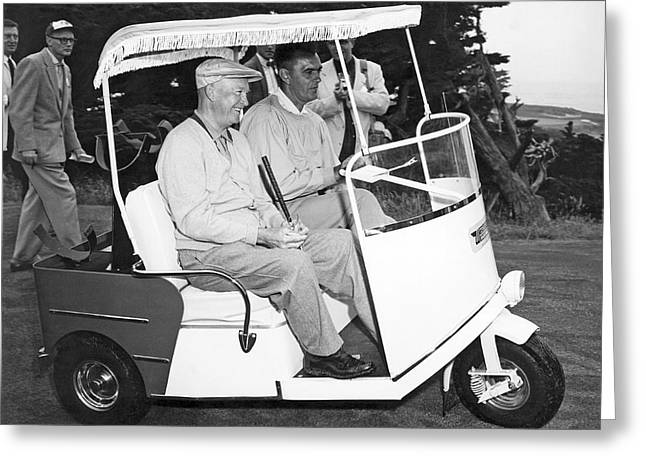 Eisenhower In A Golf Cart Greeting Card by Underwood Archives