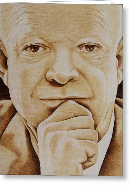 Woodburnings Pyrography Greeting Cards - Eisenhower - The Man  Greeting Card by Jo Schwartz
