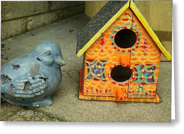 Either This Birdhouse Is Too Small Or I Am Too Fluffy Greeting Card by Anne-Elizabeth Whiteway