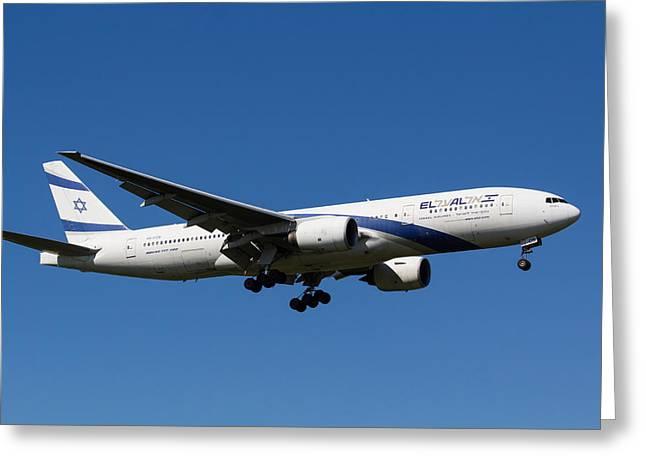 El Al Boeing 777 Greeting Card by David Pyatt