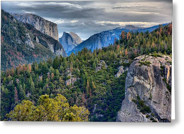 El Capitan And Half Dome Greeting Card by Josephine Buschman