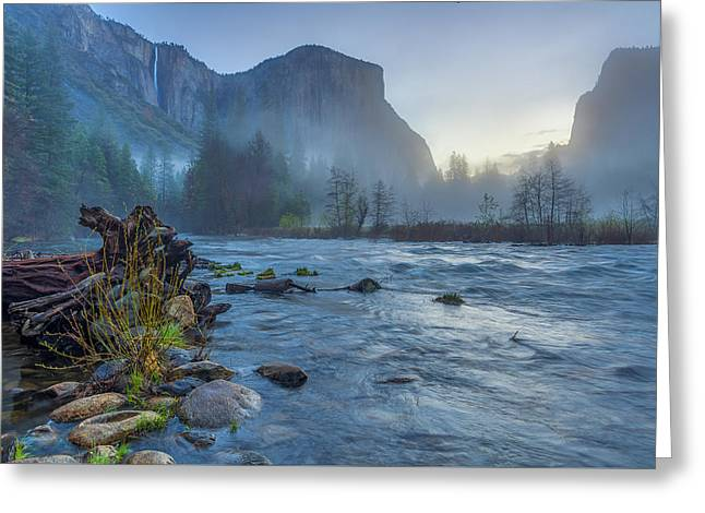 Greeting Card featuring the photograph El Capitan Merced River Dawn by Scott McGuire