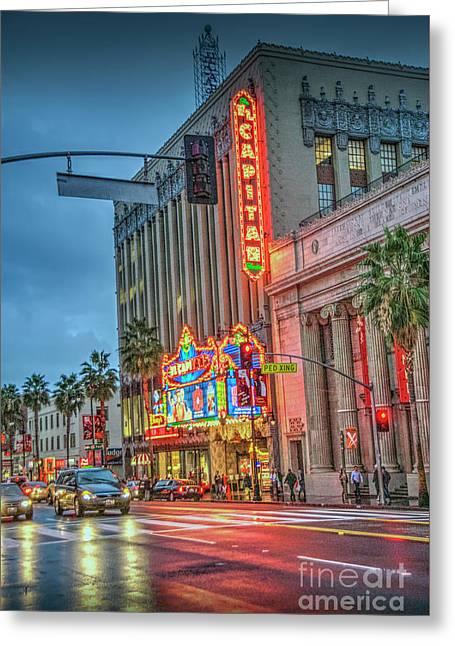 El Capitan Theater Hollywood  Ca Hollywood Blvd Night  Greeting Card