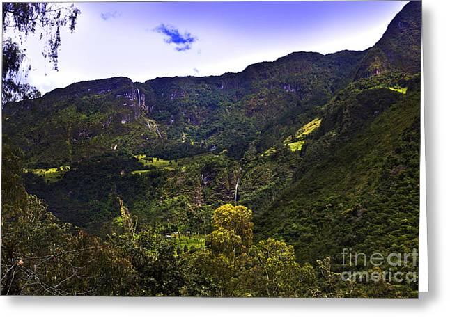 El Chorros Waterfalls Of Giron Xiv Greeting Card by Al Bourassa
