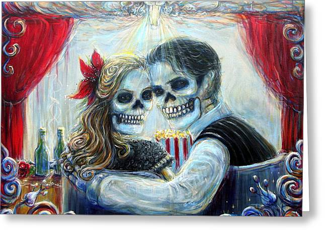 Greeting Card featuring the painting El Cine by Heather Calderon