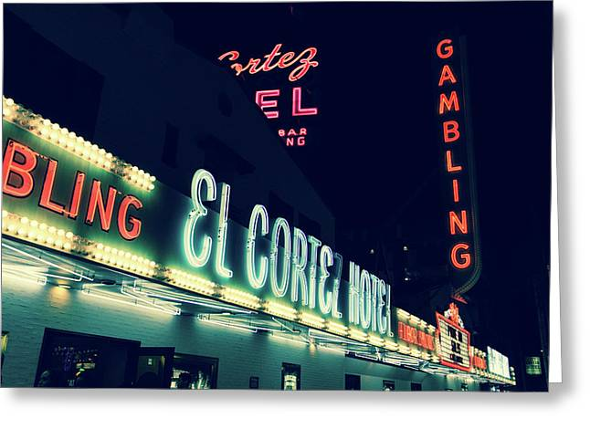 El Cortez Hotel At Night Greeting Card