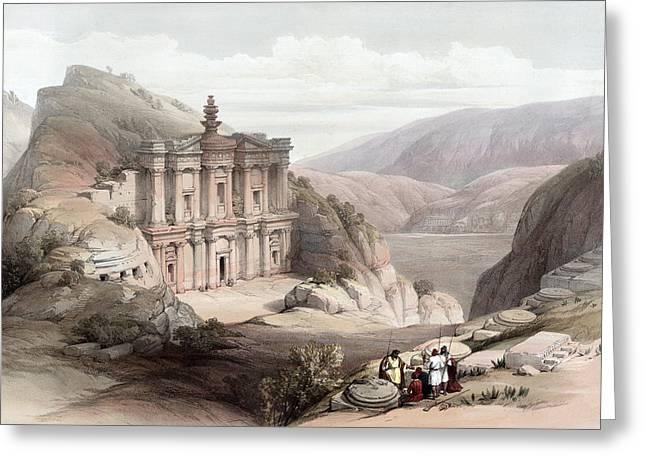 El Deir Petra 1839 Greeting Card by Munir Alawi