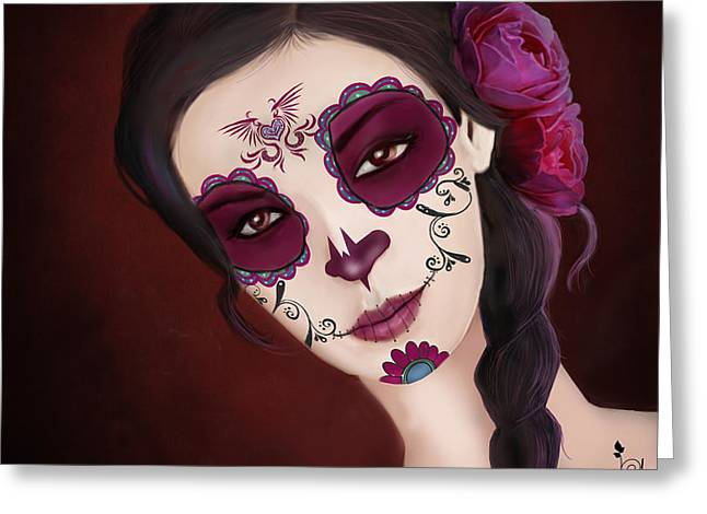 El Dia De Los Muertos Day Of The Dead Sugar Skull  Greeting Card by Maggie Terlecki