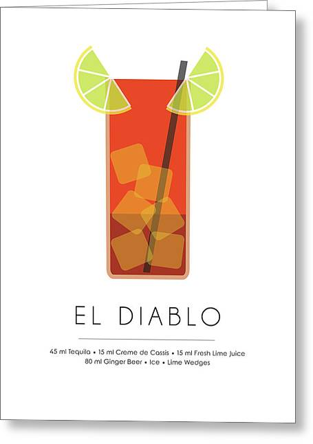El Diablo Classic Cocktail Minimalist Print Greeting Card