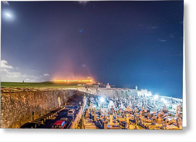 El Morro And New Moon Greeting Card by Tim Sullivan