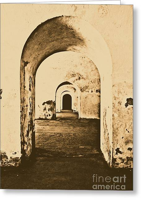 Castillo San Felipe Greeting Cards - El Morro Fort Barracks Arched Doorways Vertical San Juan Puerto Rico Prints Rustic Greeting Card by Shawn O