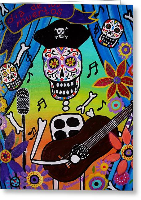 El Musikero Greeting Card by Pristine Cartera Turkus