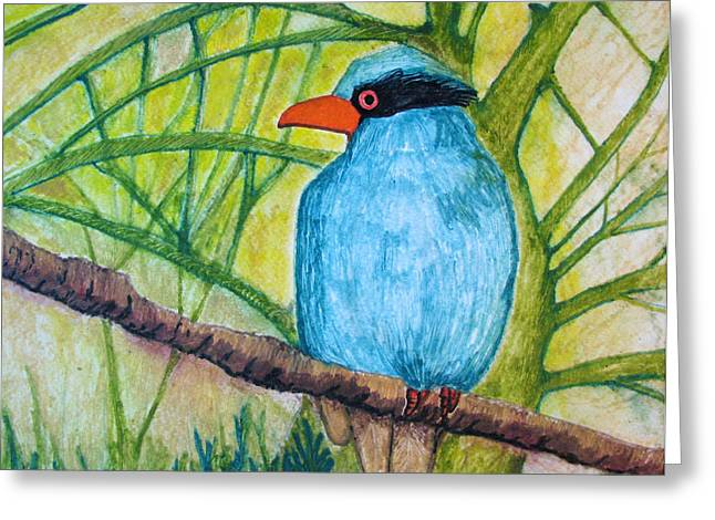 Greeting Card featuring the painting El Pajaro Del Agua Azul  by Patricia Arroyo