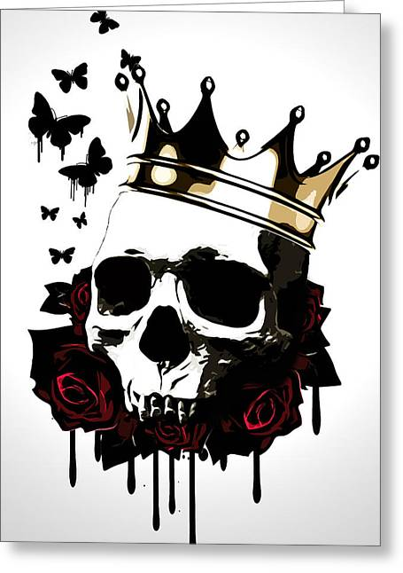 King Greeting Cards - El Rey de la Muerte Greeting Card by Nicklas Gustafsson