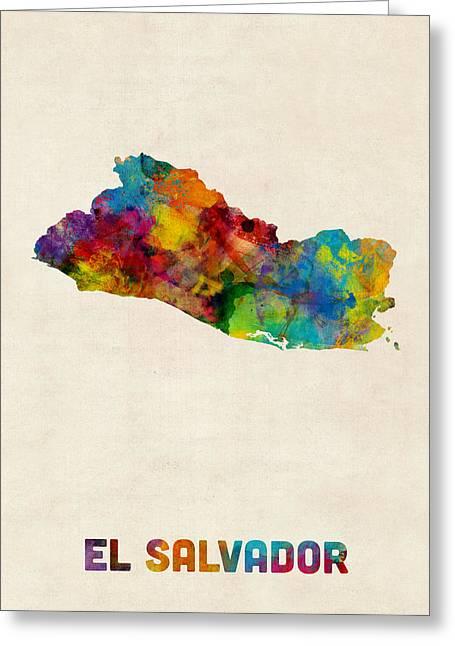 El Salvador Watercolor Map Greeting Card by Michael Tompsett