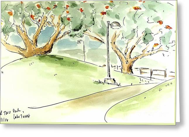 Greeting Card featuring the painting El Toro Park by Maria Langgle