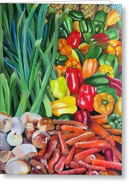 El Valle Market Greeting Card by Marilyn McNish