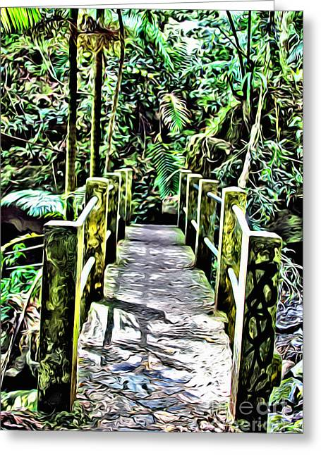 El Yunque Bridge Greeting Card by Carey Chen