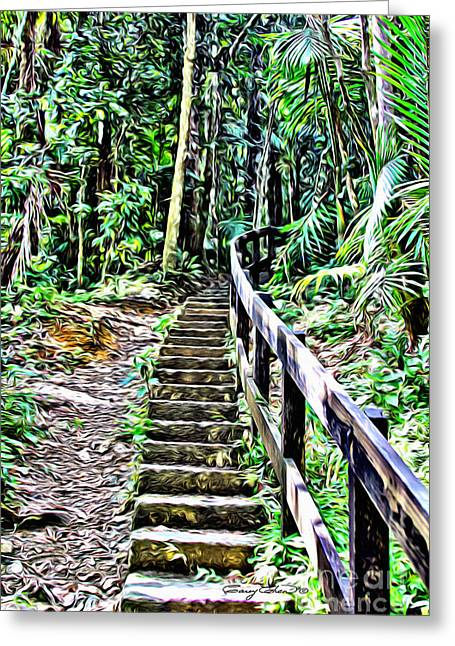 El Yunque Stairway Greeting Card by Carey Chen