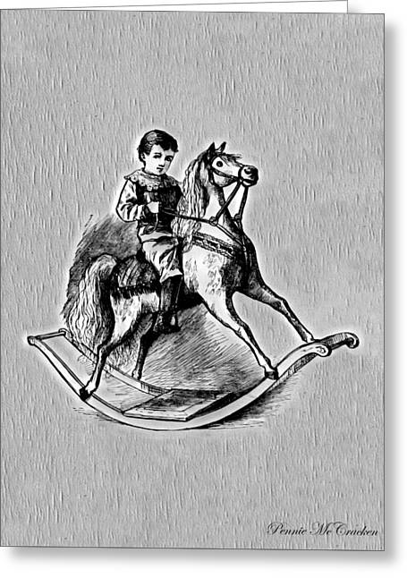 Greeting Card featuring the digital art Elaborate Rocking Horse by Pennie McCracken
