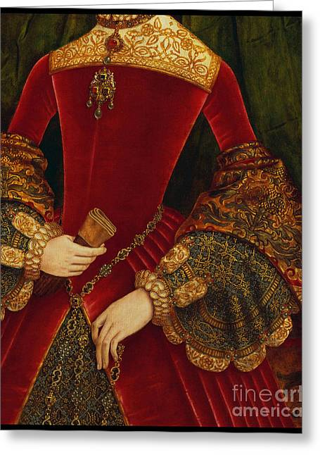 Elaborately Embroidered Historical Fashion Costume Detail Greeting Card by Tina Lavoie