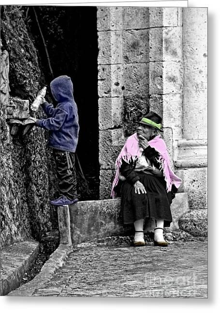 Greeting Card featuring the photograph Elderly Beggar In Biblian II by Al Bourassa