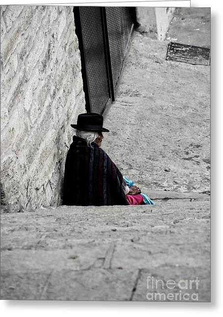 Elderly Beggar In Chordeleg Greeting Card by Al Bourassa