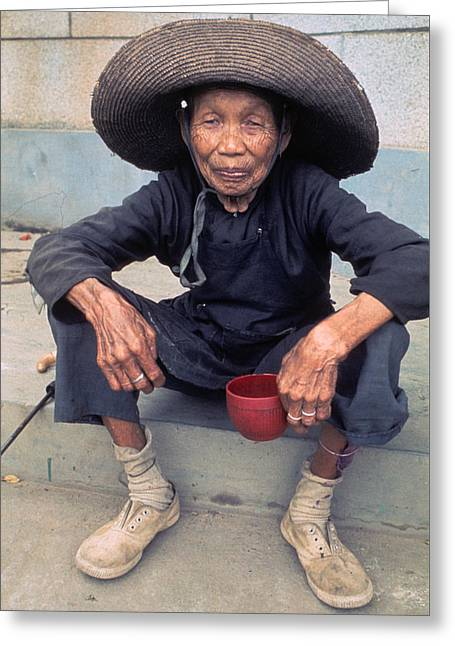 Elderly Begger Woman In China Greeting Card by Carl Purcell